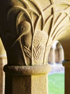 Finely Carved Capitals in the Cloisters, Iona Abbey, Isle of Iona, Scotland, United Kingdom, Europe