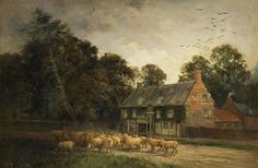 Oil Painting: Cock Inn, Kingsthorpe by Albert E Bailey (c1900) by Northampton Museums, via Flickr