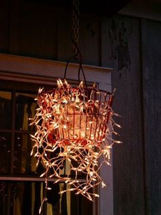 Christmas Lights in hanging wire basket