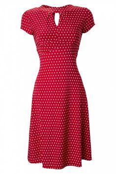 Das40s Juliet Classy Red Polka Dot Vintage Flared Tea dressder Marke Lindy Bopist ein fabelhaftes und elegantes Polkadotkleid mit verspielten Akzenten!Dieses süße Retro Kleid mit einer herrlichen Passform ist hergestellt aus einem bequemen Stretch-Jersey. Das Top ist gefüttert und hat ein kleines, subtiles Schlüssellochdekolleté. Ab dem Busen läuft das Kleid aus in einer A-Linie. Waschen und aufh&...