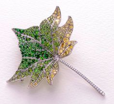 Gimel diamond tsavorite leaf brooch pin