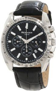 Rudiger Men's R1000-04-007L Dresden Black Luminous Dial Black Leather Chronograph Tachymeter Watch Rudiger. $154.00. Luminous hands and hour markers; date window between 4 and 5 o'clock. Water-resistant to 50 M (165 feet). Quartz movement: seiko ym12. Chronograph function; sub-second feature. Fixed bezel with tachymeter