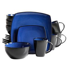 Gibson Soho Lounge Square dinnerware set including: 4 dinner plates, 4 dessert plates, 4 soup/salad bowls, 4 mugs, Blue Stoneware Dinner Set Reactive Glazes Dishwasher and Microwave safe Suitable for wide range of any table settings.