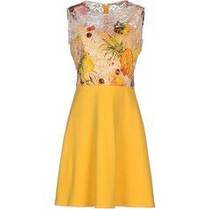 Marani Jeans Short Dress ($205) ❤ liked on Polyvore featuring dresses, yellow, mini dress, sleeveless jersey dress, short lace dress, sleeveless jersey and yellow sleeveless dress