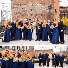 It's Always a [Wedding] Party | Dresses by @davidsbridal | Tuxes by @mwtuxedo | wedding bride groom bridal party wedding party happy hour outdoor photos fall wedding navy orange wedding colors flowers bouquets