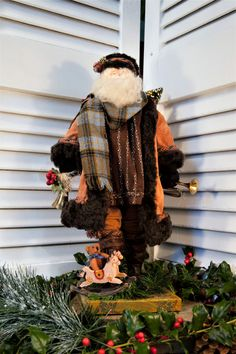 Christmas Sale - Was priced at $225.00 - now priced at $125.00!  Handmade One of a Kind County Rustic Santa - Rustic Father Christmas - Handmade Country Rustic Father Christmas I love to make these one of a kind Father Christmas Santa Claus and have been creating them for 25 years..........selling them on Newbury Street and juried, Boston craft shows.  They are entirely hand made beginning with a wire armature, fiberfill muslin covered body and hand-sewn clothes using only vintage materials…