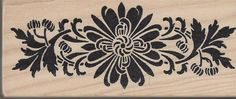 Floral Border Rubber Stamp Wood Mounted WM Margenta Flowers #Margenta #Border
