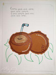 """Hoja de Trabalenguas: """"Poco coco compro"""" con Ilustración. Más fotografías dando clic a la imagen. Coasters, Shopping, Blade, Coaster"""
