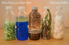 We're Going on a Bear Hunt sensory bottles and other book inspired play ideas (these are the bottles in Lisa's room) Nursery Activities, Sensory Activities, Book Activities, Preschool Activities, Bears Preschool, Preschool Rooms, Sensory Wall, Daycare Rooms, Sensory Boards