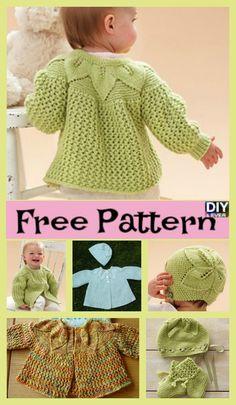 Adorable Knit Leaf Sweater Set – Free Pattern #freepattern #freeknitpattern #sweater #babygift