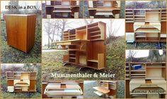 Mummenthaler & Meier Desk in a Box - Skatoll - Retro Teak Design Skrivebord Retro Furniture, Furniture Design, Teak, Antiques, Box, Antiquities, Antique, Snare Drum, Old Stuff