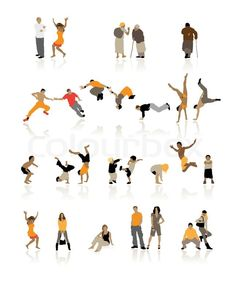 Stock vector of 'Detailed silhouettes of people: fun children, young couples, sport teens, old age' People Cutout, Cut Out People, Real People, People Figures, People Art, Painting People, Drawing People, Photoshop, Photomontage