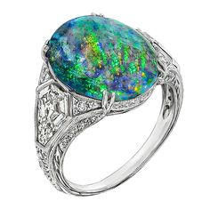 Antique Sapphire and Diamond More Rings - For Sale at - Black Opal Shield Cut Diamond Platinum Ring. This stunning platinum ring centers an amazing cabocho - Antique Rings, Antique Jewelry, Vintage Jewelry, Australian Opal Jewelry, Jewelry Rings, Fine Jewelry, Jewellery, Platinum Diamond Rings, Tiffany Jewelry