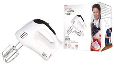 Easy grip rubberised handle for maximum comfort and control. Get a James Martin hand mixer. Comes with stainle steel beaters dough hooks and a balloon whisk. Powerful mixer with five speeds and turbo boost. Ideal for cakes dough and pastry. Top Cookbooks, James Martin, Hand Mixer, Great British Bake Off, Hands, Steel, Easy, Kitchen, Cucina