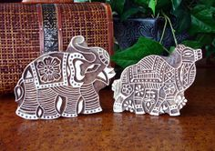 Elephant and Camel Stamps: Hand Carved Wood Stamp Set, Indian Printing Block, Ceramic Tile Pottery Stamp, India Wall Decor via Etsy