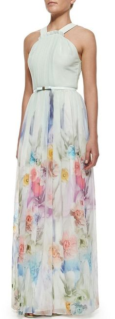 Ted Baker London - Beula Floral Print Pleated Maxi Dress, Pale Green