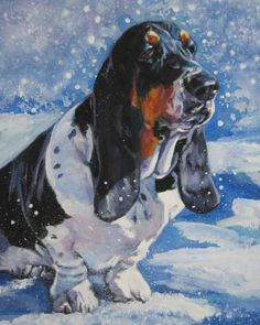 Basset Hound dog art CANVAS print of LA Shepard painting 8x10 portrait by TheDogLover on Etsy https://www.etsy.com/listing/59133650/basset-hound-dog-art-canvas-print-of-la