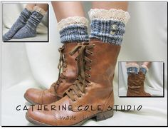Nordic Lace  short boot  lace socks denim tweed for combat or cowboy boot socks by Catherine Cole Studio ruffled lace SLX1BL Made  in usa. $17.00, via Etsy.