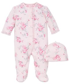 29c4d9c3914 Little Me Scroll Rose Flower Snap Front Footie Pajamas with Hat For Baby  Girls Sleep N Play One Piece Romper Coverall Infant Footed Sleeper  Pijamas  Para ...