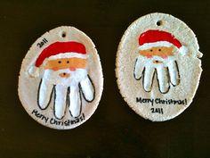 How To Make Santa Handprint Holiday Ornaments christmas