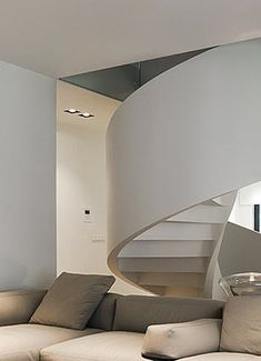 contemporary spiral staircase | House interior design by Tamizo Architects Mateusz Stolarski _
