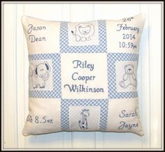 Personalised Baby Cushion with Parents Name by AnnettesAllsorts, £30.00
