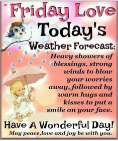 Friday Love, Todays Weather, Warm Hug, Strong Wind, Weather Forecast, No Worries, Blessed, Positivity, Joy