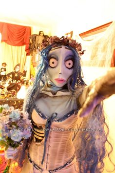 Awesome handmade Tim Burton's Corpse Bride costume and many other super cool home made costumes. This is really the mother lode of awesome costume ideas. Original Halloween Costumes, Holiday Costumes, Halloween Costume Contest, Disney Costumes, Couple Halloween Costumes, Costume Ideas, Halloween Stuff, Cosplay Ideas, Halloween Ideas