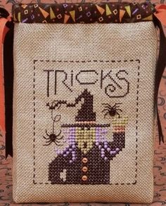 Tricky Witch - Trick or Treat Bag - Absolutely great idea!  Cross Stitch a trick or treat bag for your kids or for party favors.