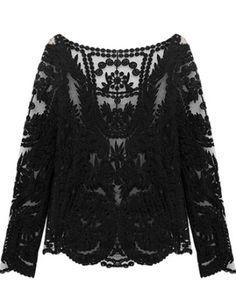 Black Long Sleeve Lace Blouse - Sheinside.com