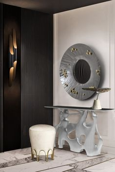 The outstanding BASTEI Console Table, with a glossy golden, copper or silver shade, will steal the attention in a modern entryway interior and can be paired with other statement pieces, such as the CALLA Table Light, the NUI Stool and the SAYA Mirror.  #entrywaydesign #hallwaysdesign #contemporaryentryways #modernentryways #classicentryways #mid-centuryentrywyas #eclecticentryways