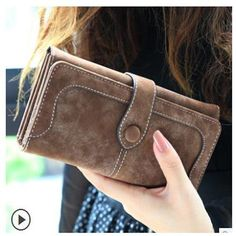 New Arrive 2016 Fashion Retro Matte Stitching Wallet Women Brand Long Purse Clutch Women Casual Hasp Dollar Price Wallet Handbag