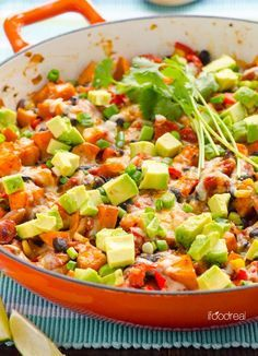 Quick Tex Mex Sweet Potato Skillet -- Healthy, vegetarian and gluten free 30 minute weeknight dinner idea.