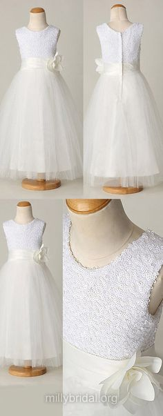 White Flower Girl Dresses A-line, Cute First Communion Dresses, Junior Bridesmaid Dresses Sequined, Tutus Girls Christening Gowns