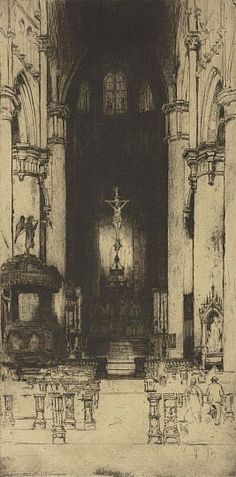 Notre Dame, Dinant, 1907 by Sir David Young Cameron (Scottish 1865 - 1945) etching