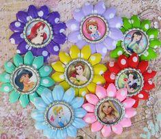 Disney Princess hair clip disney princess flower polka dots headband bottle cap party favor stocking stuffer holiday purple cute girls