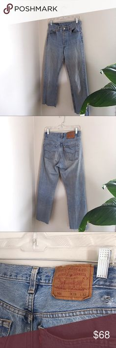 "Vintage 501 Levi's Beautiful wash with raw hem. Tag reads: W: 28"" but fits more like a 26"" Levi's Jeans"