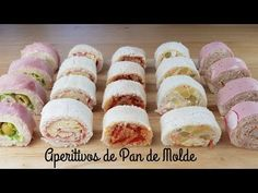 Let& go to the kitchen to prepare these delicious snacks of bread. They are canapes or entrates of the easiest and simplest. Encourage and try. Appetizers Table, Bread Appetizers, Appetizers For Party, Appetizer Recipes, High Tea, Yummy Snacks, Catering, Food And Drink, Cooking