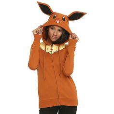 Pokemon Eevee Girls Costume Hoodie Hot Topic ($55) ❤ liked on Polyvore featuring jackets