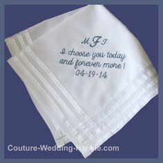 Embroidered Wedding Handkerchief Pocket Square Personalized For Groom, Father of the Bride, Father of the Groom, Wedding Gift - pinned by pin4etsy.com
