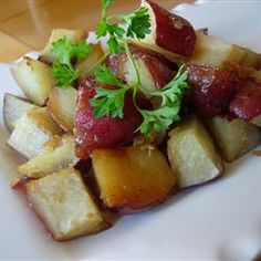 Really, Really, Really good potato recipe. Would recommend olive oil instead of Pam. Fruit Recipes, Diet Recipes, Healthy Recipes, Healthy Food, Recipies, My Favorite Food, Favorite Recipes, Best Potato Recipes, Potato Dishes