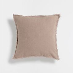 WASHED LINEN CUSHION WITH CROCHET