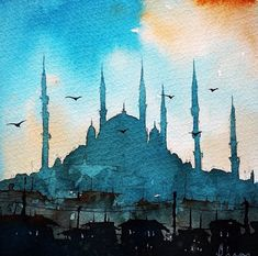 Sen sana ne san rsan Ayru a da onu san D rt kitab n manas budur E er var ise Emre Arabic Calligraphy Art, Arabic Art, Watercolor Sketch, Watercolor Paintings, Art Arabe, Watercolor Architecture, Islamic Paintings, Turkish Art, Urban Sketching