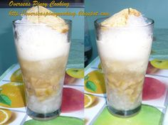 RAZON'S HALO HALO = Ingredients:  minatamis na saba, sweetened bananas, minatamis na macapuno, sweetened coconut sport dayap flavoured leche flan evaporated milk sugar syrup, 1 part sugar and 1 part water iced, finely shaved ==