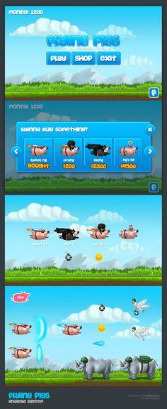 Flying pigs - Android Game by Rafal Urbanski, via Behance