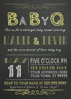 COUPLES bbq BABY shower invitation CHALKBOARD