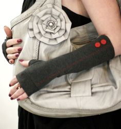 Soft grey and red with vintage buttons  fingerless by WearMeUp