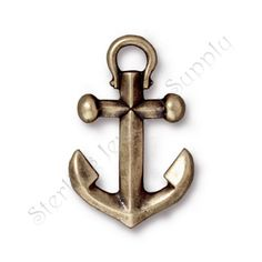 TierraCast Small Anchor Charm Oxidized Brass 19 x 12.5mm