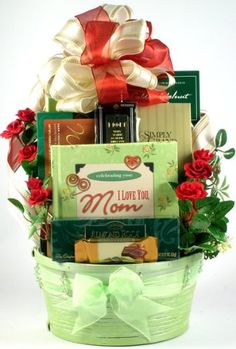 I Love You Mom Womens Gift Basket For Her