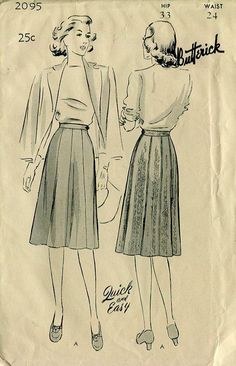FREE US SHIP Vintage Retro 1940's 40's Gored Skirt Butterick 2095 Waist 24 Unprinted by LanetzLivingPatterns on Etsy